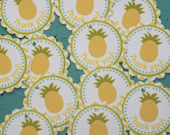 CHEVRON LUAU Hawaiian Theme Birthday or Baby Shower Favor Tags or Stickers {Set of 12} - Party Packs Available