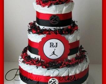 Air Jordan Diaper Cake , ANY COLORS , Baby Shower Decorations ,Red, Black , Diaper Cake