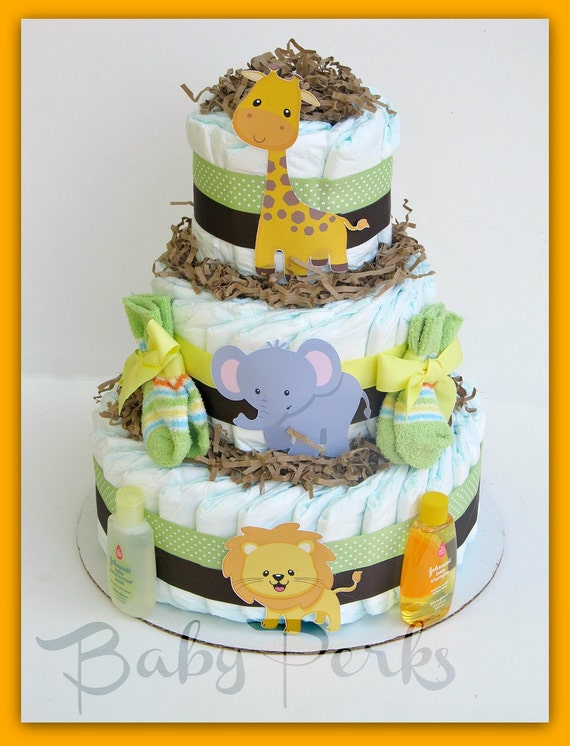 Items similar to gender neutral jungle diaper cake safari for Baby shower decoration diaper cake