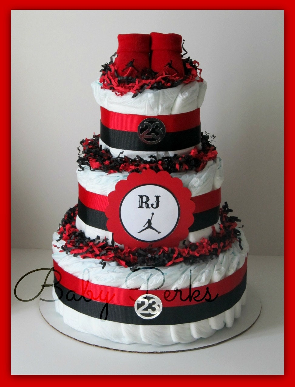 Air Jordan Diaper Cake ANY COLORS Baby Shower Decorations