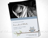 Look Whooo Just Arrived Owl Birth Announcement - Blue - DIY Printable