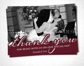 Wedding Cursive Thank You Card - Red - DIY Printable