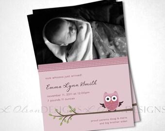 Look Whooo Just Arrived Owl Birth Announcement - Rose - DIY Printable