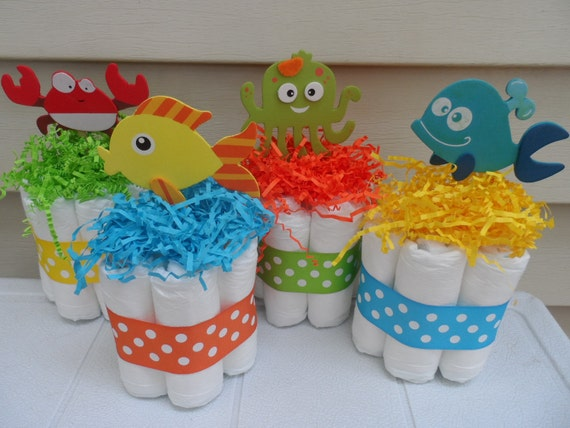 under the sea theme mini diaper cakes baby shower centerpiece