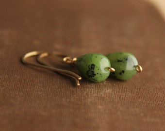 "Green Jade Gold Fill Earrings Nephrite Jade Green and Gold Canadian Jade True Jade-- ""Stone of Heaven"""