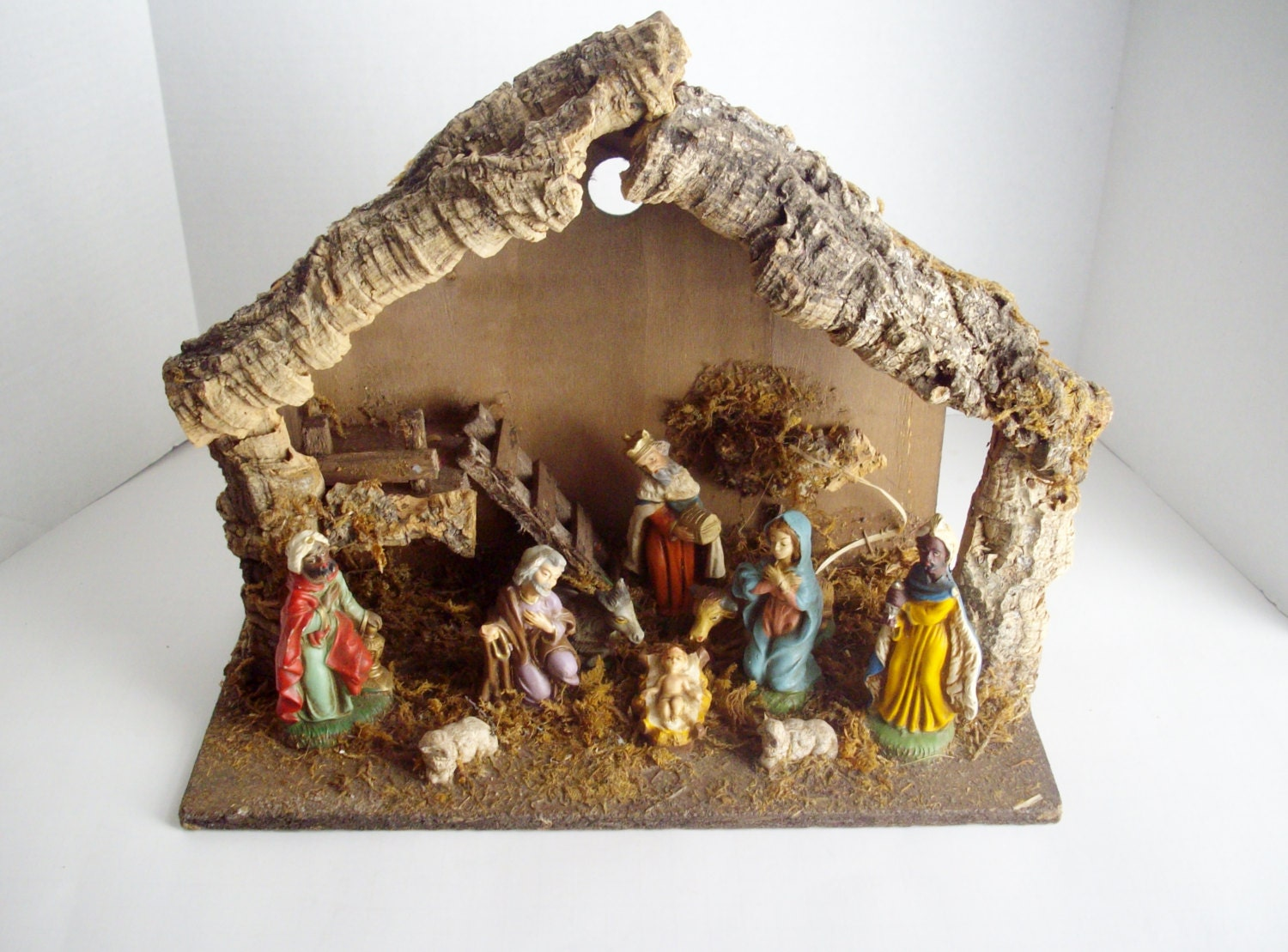 Vintage nativity large creche stable figurines by nannasthings
