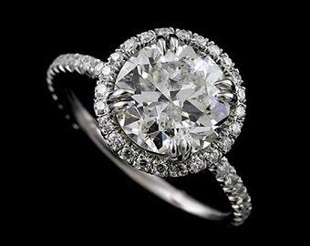 Diamond Halo Engagement Ring, Round Cut Moissanite Engagement Ring, 3 Carat Engagement Ring, Unique Modern Style Engagement Ring Setting
