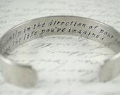 Go Confidently in the Direction of Your Dreams Secret Message Hand Stamped Bracelet- Personalized Bracelet