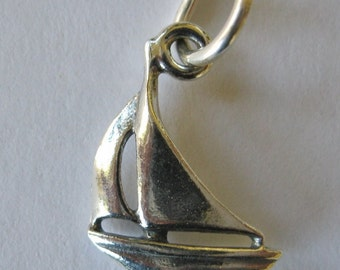 Pair of Sailboat Charms Sterling Silver 15MM X 12MM Nautical 3D