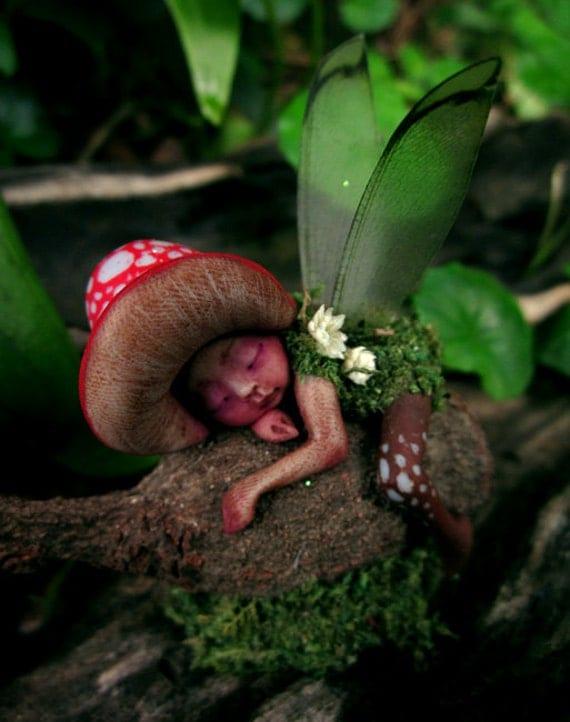 Tiny Sleeping Gumnut Woodland Mushroom Fairy by by ...  Tiny Sleeping G...