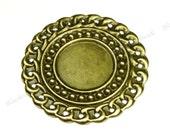41mm Vintage Style Antique Bronze Iron Cabochon Settings - 10pcs - Round, 18mm Tray - BG25