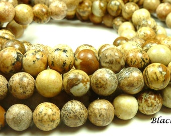 6mm Picture Jasper Natural Gemstone Beads - 15.5 Inch Strand - Brown, Sand, Tan, Swirls, Earth Tones - BC14