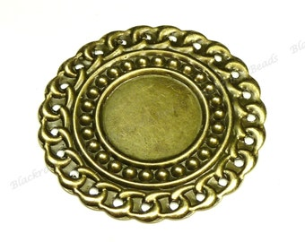 41mm Vintage Style Antique Bronze Iron Cabochon Settings - 10pcs - Round, 18mm Tray - BG25