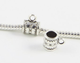 50 Bails - Barrel Loop European Silver Tone Bail Beads Spacer Charms for Bracelet Necklace C1070