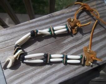 Leather, Bone, Lava Bead and Green Shell Bead Choker - UNIQUE