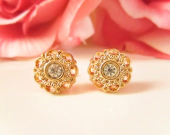 Gold Flower Rhinestone earrings,Vintage Button Earrings, Gold Studs,Bridesmaid Earrings, dainty studs, flower earrings, dainty jewelry,