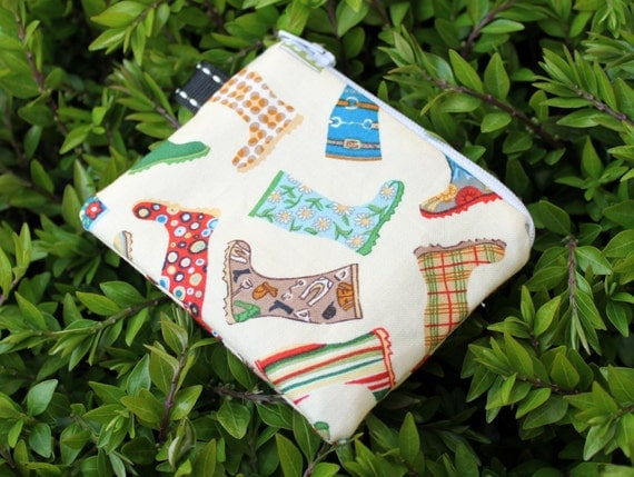 Coin purse, change purse, with wellies and horses, riding gear, boots