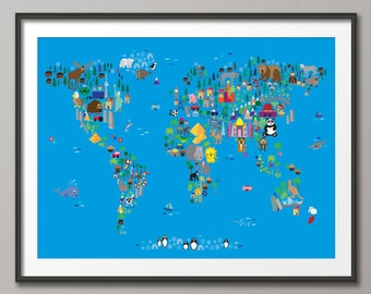 Animal Map of the World Map for children and kids, Art Print (62)