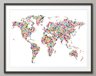 Stars Map of the World Map, Art Print (115)
