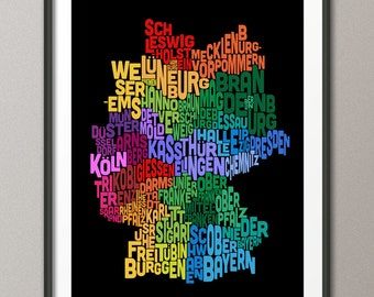 Typography Text Map of Germany Map, Art Print (278)