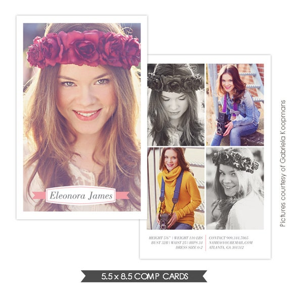 Instant download modeling comp card photoshop by birdesign for Free model comp card template psd