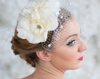 Bridal Birdcage Veil ~ silk bloom,goose feathers, rhinestones, birdcage veiling, bridal veil, wedding veil, bridal birdcage veil, veil