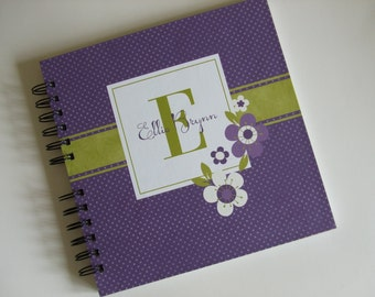Baby Book |  Baby Memory Album | Purple and Lime Green Wire Bound Baby Memory Book