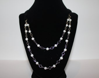 SALE**Bead and Velvet Ribbon Necklace