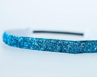 "No Slip Headband Teal Glitter 5/8"" or 3/8"""