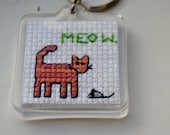 Orange Tabby Cat Embroidered Keychain
