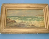 William Prater Victorian Seascape Painting Vintage Oil Painting Vintage Art OOAK Painting Vintage Seascape Painting John Bryce Smith