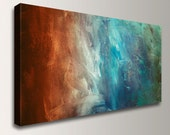 """Panoramic Art, Abstract Painting Reproduction - Canvas Print - Turquoise / Teal, Red / Rust Wall Decor, """" Conduction """""""