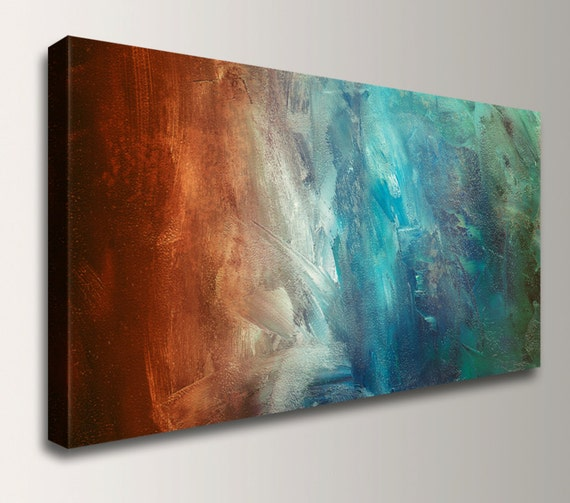"Panoramic Art, Abstract Painting Reproduction - Canvas Print - Turquoise / Teal, Red / Rust Wall Decor, "" Reflection """