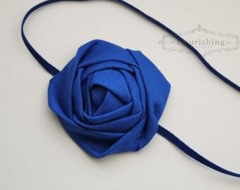 Back to Basics- ROYAL BLUE Rosette headband, everyday headbands, royal blue headbands, newborn headbands, photography prop