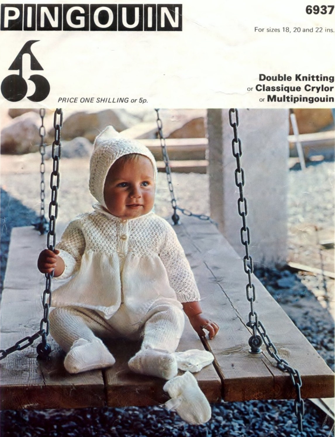 Free Knitting Pattern Cowl : Baby Coat, Leggings, Bonnet, Hood and Mittens 18 to 22 ins - Pingouin 6937 - ...