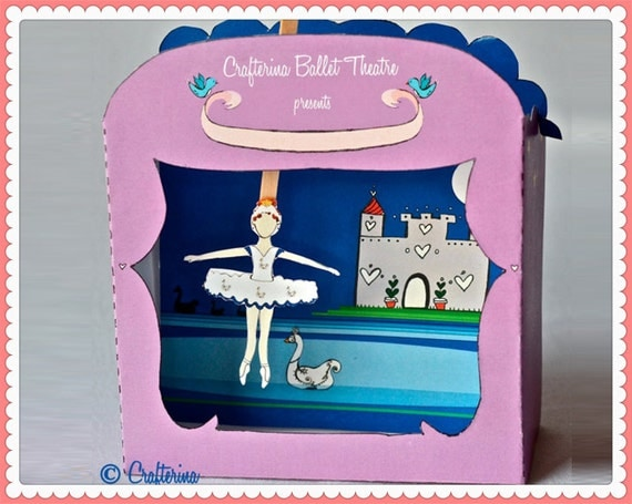 Swan Lake Puppet Theater Printable PDF Kit - DIY Craft - Party Favor- Child Toy - Play & Pretend - Ballerina Princess