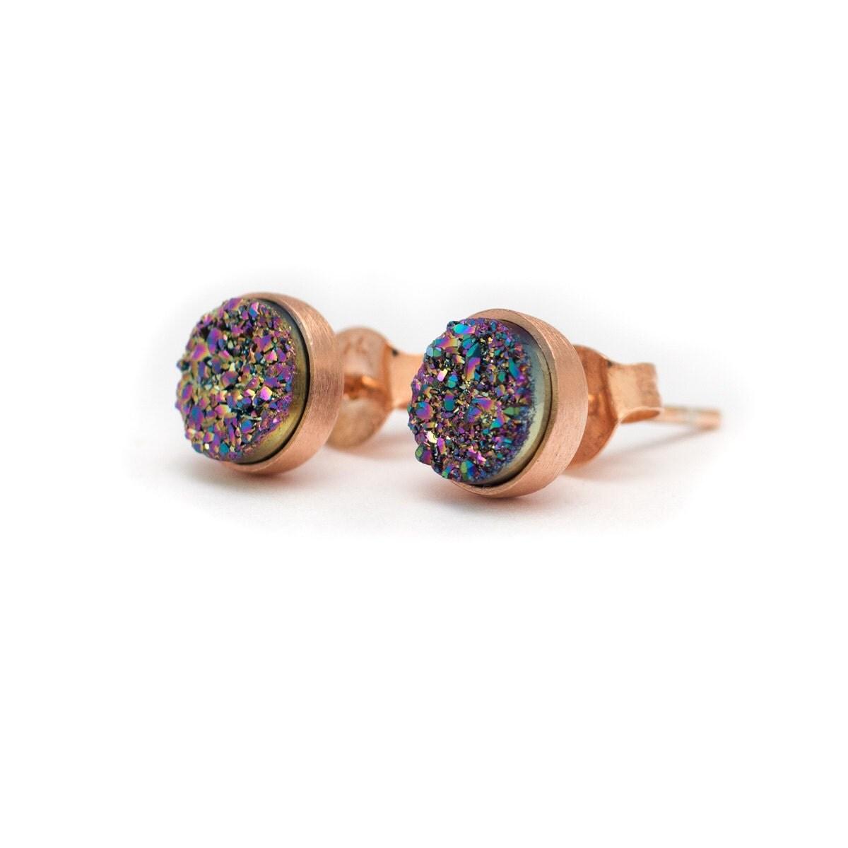 peacock in rose gold stud earrings druzy drusy quartz. Black Bedroom Furniture Sets. Home Design Ideas
