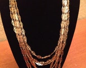 Vintage Multi-Strand Gold Tone Chain Necklace
