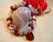 Ruby Red Heart Bracelet, Red Heart Bracelet, European Style Beaded Bracelet, Women's Bracelets, Red Beaded Bracelet, Garnet Red Hearts