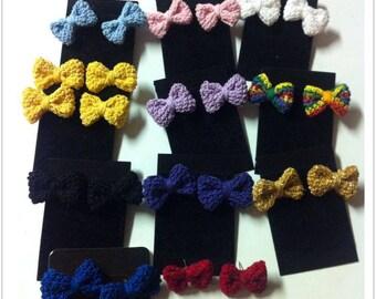 Crochet Bow Stud Earrings