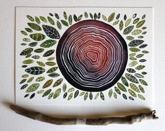 Watercolor Painting Spirit Tree Rings - Nature Art  - Archival Print