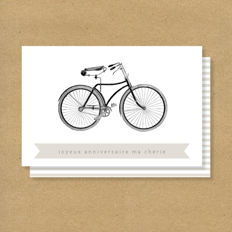 BIRTHDAY CARD French Bicycle Birthday Card Joyeux – Birthday Greetings French