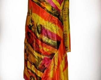 Hand painted yellow red abstract shawl/Hand Painted Silk shawl/Yellow Butterflies/Woman silk shawl/Long  shawl/Luxury painting silk/H0094