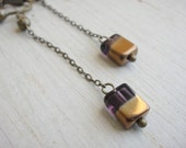 Purple Gold Square Clip On Earrings, Long Chain Clip on, screw back