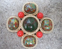Elegant Cabochon Huge Brooch by Sarah Coventry c 1960