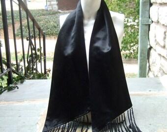 Dramatic Vintage Silk Satin Fringe Scarf