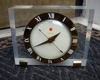 1950s Art Deco Lucite Clock by Telechron