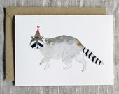 Raccoon Birthday Card. Animal Birthday Card. Raccoon Greeting Card. Raccoon With Party Hat. Animal Lover Birthday Card. Cute Raccoon Card.