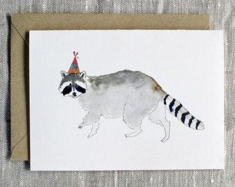 Raccoon Birthday Card.  Animal Birthday Card.  Birthday Card.