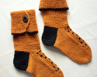 Pure natural organic wool SOCKS  with decoration -  gift WRAPPING for FREE